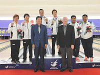 2014AsianGamesMenDoublesTop3withOfficials.jpg