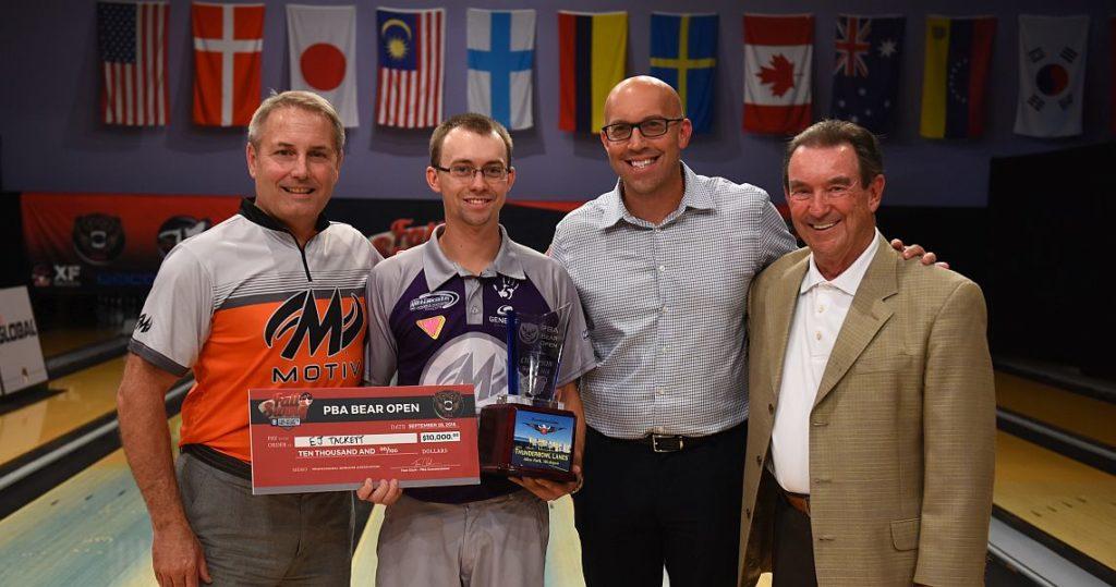 From left, MOTIV co-owner Scott Wilbur, 2016 Bear Open champion EJ Tackett, PBA CEO & commissioner Tom Clark, and proprietor Tom Strobl.