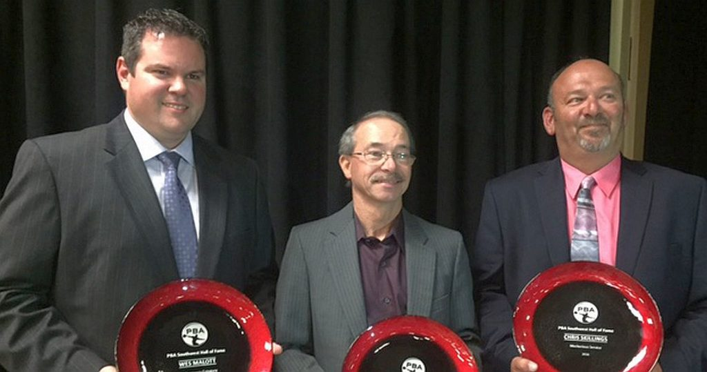 From left, 2016 PBA Southwest Region Hall of Fame inductees, Wes Malott, Rick Lawrence and Chris Skillings.