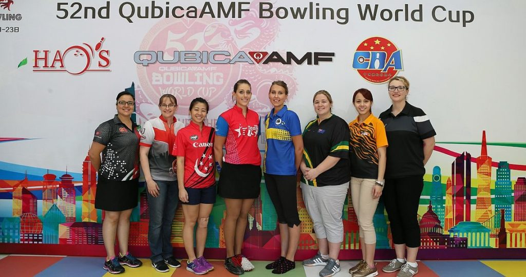 The top 8 women in the 52nd QubicaAMF Bowling World Cup: From left, Iliana Lomeli (MEX), Lisa John (ENG), Bernice Lim (SIN), Danielle McEwan (USA), Jenny Wegner (SWE), Rebecca Whiting (AUS), Syaidatul Afifah (MAS) and Nadine Geissler (GER).