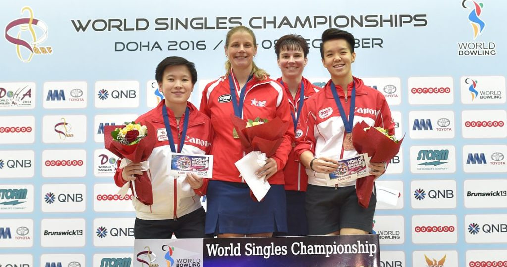 From left: New Hui Fen (silver), Kelly Kulick (gold), Shannon Pluhowsky and Shayna Ng (bronze).