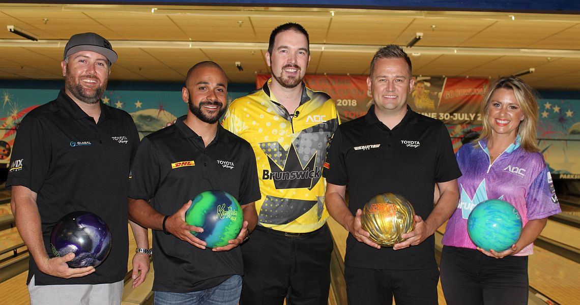 NHRA drivers enjoy an afternoon of bowling with Sean Rash